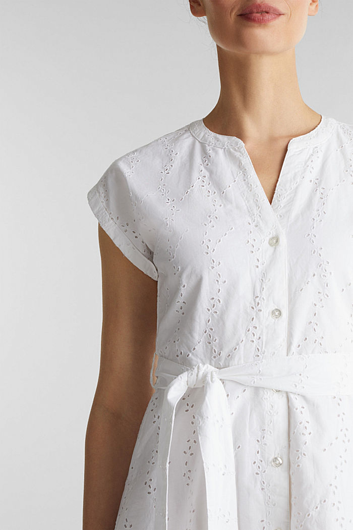 Shirt dress with broderie anglaise