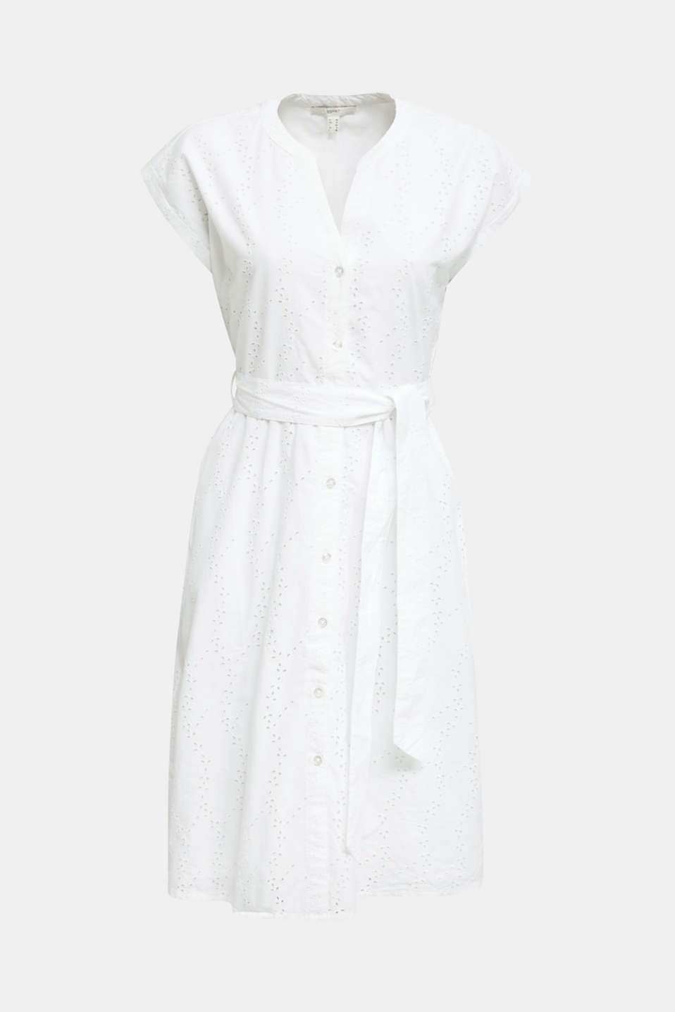 Shirt dress with broderie anglaise, WHITE, detail image number 4