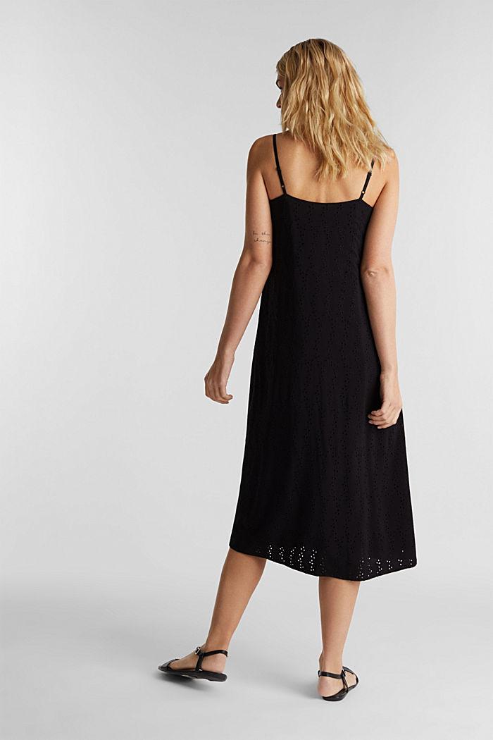 Midi-jurk met opengewerkt borduursel, BLACK, detail image number 2