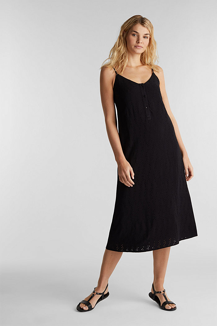 Midi-Kleid mit Loch-Stickerei, BLACK, detail image number 1