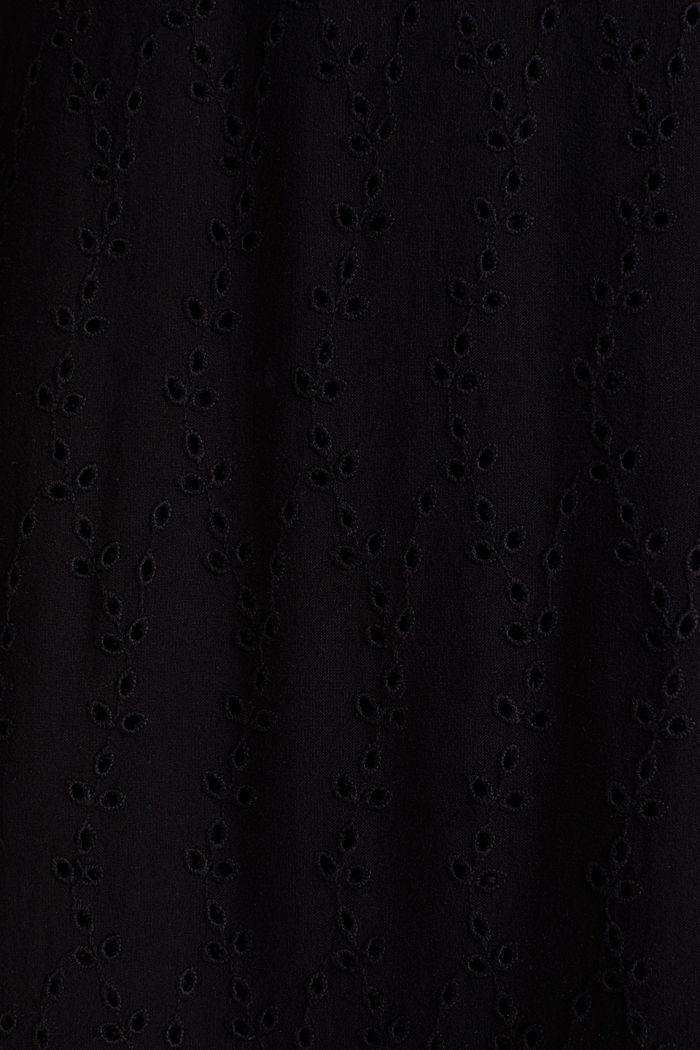 Midi-jurk met opengewerkt borduursel, BLACK, detail image number 4