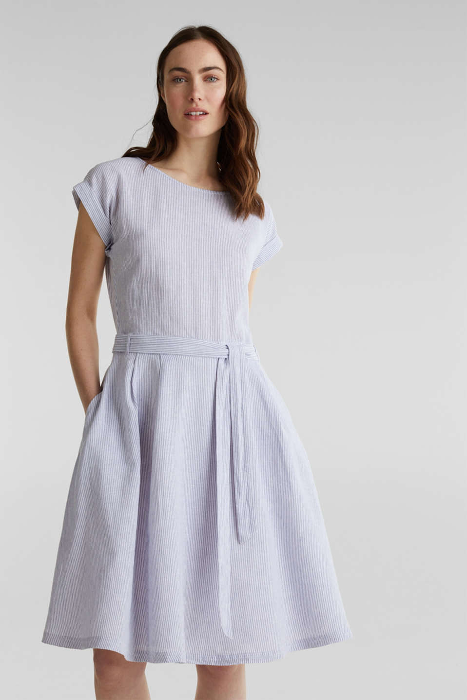 Esprit - Linen blend: striped dress