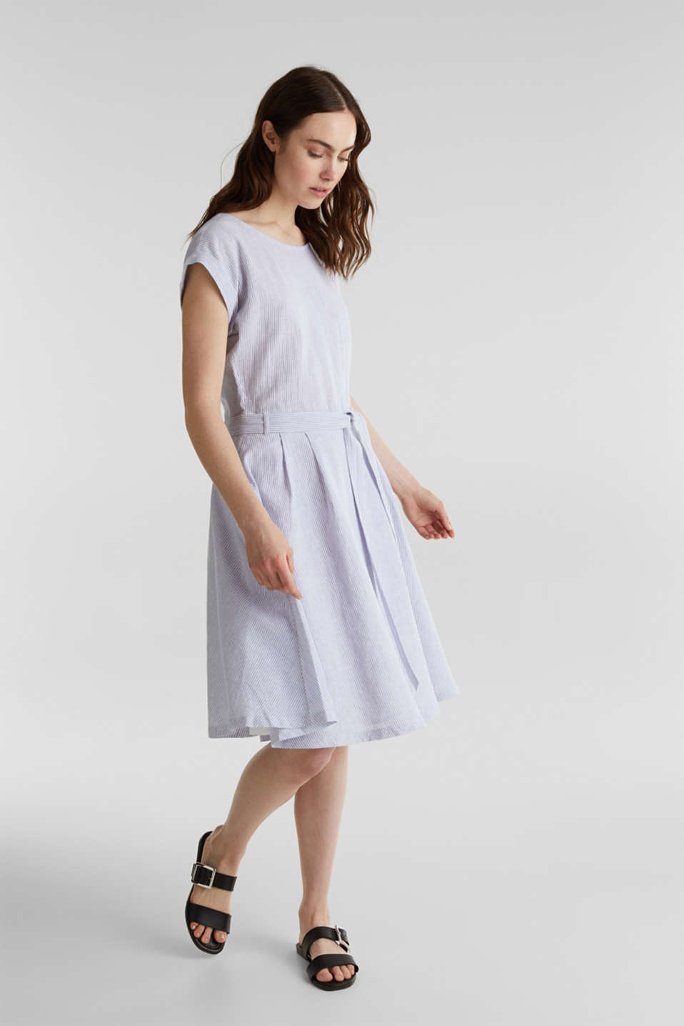 Linen blend: striped dress, LIGHT BLUE 4, detail image number 1