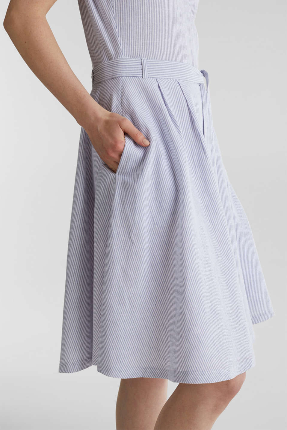 Linen blend: striped dress, LIGHT BLUE 4, detail image number 5