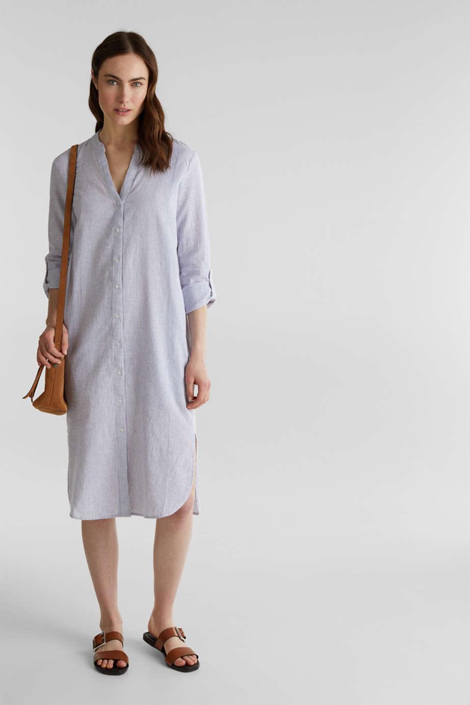Linen blend: shirt dress, LIGHT BLUE 4, detail image number 1