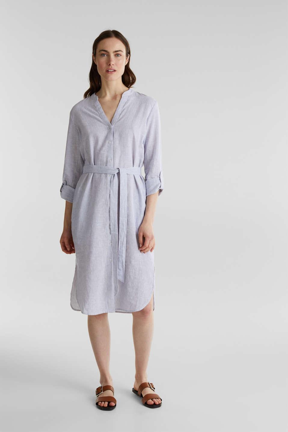 Linen blend: shirt dress, LIGHT BLUE 4, detail image number 7