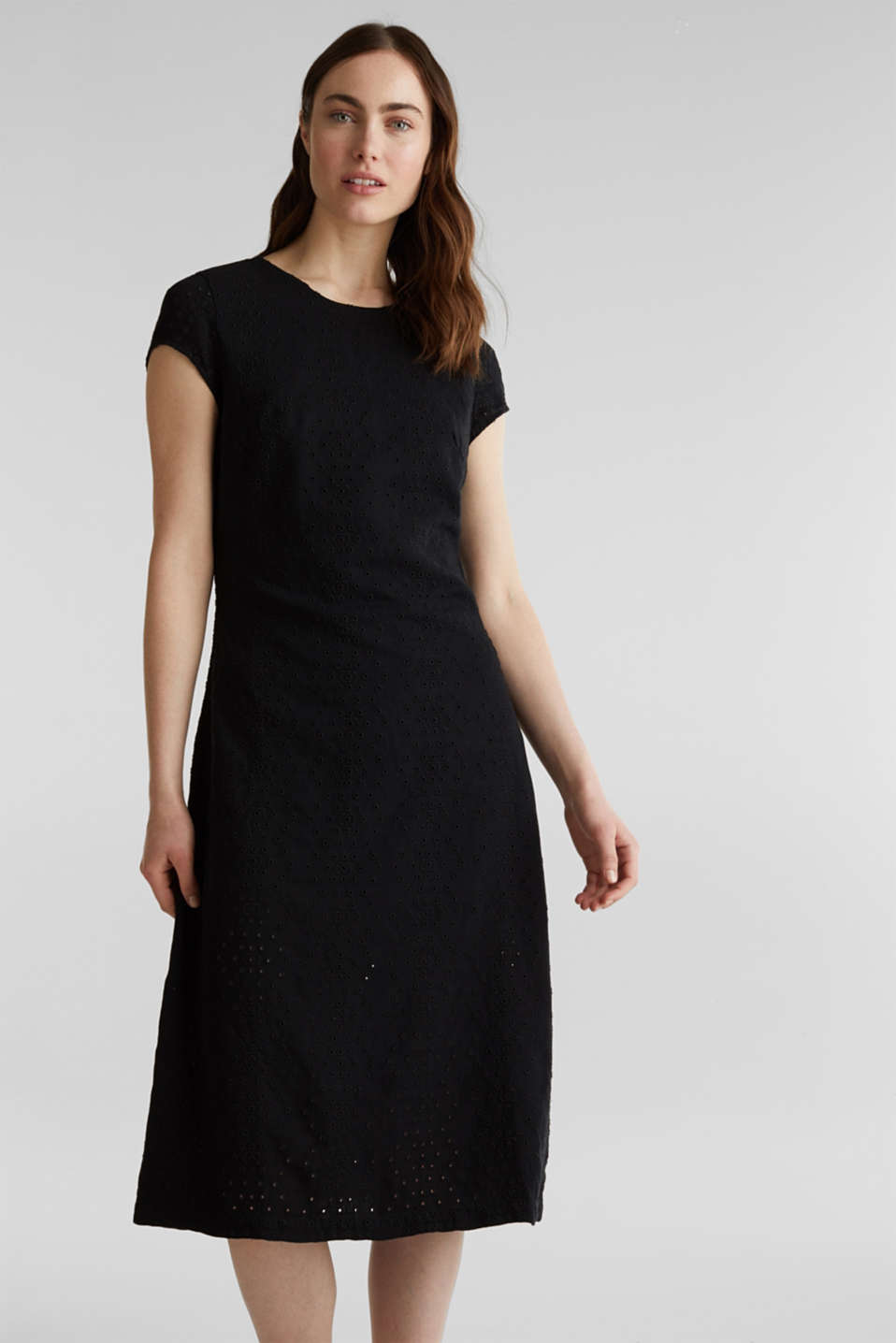 Esprit - Made of TENCEL™: dress with broderie anglaise