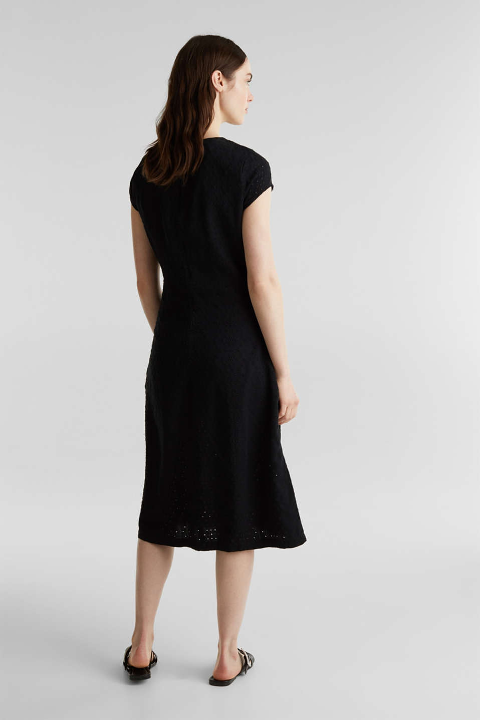 Made of TENCEL™: dress with broderie anglaise, BLACK RINSE, detail image number 2