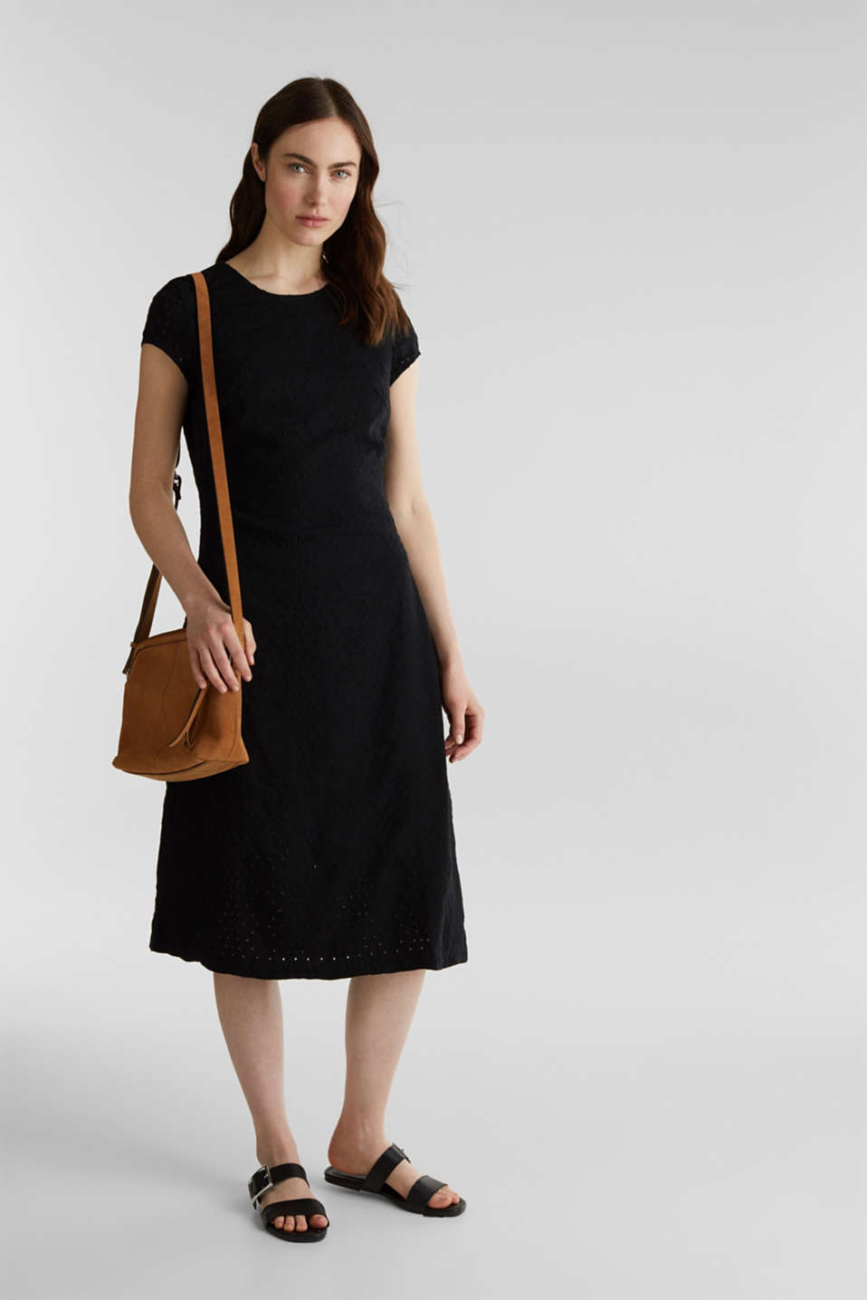 Made of TENCEL™: dress with broderie anglaise, BLACK RINSE, detail image number 1