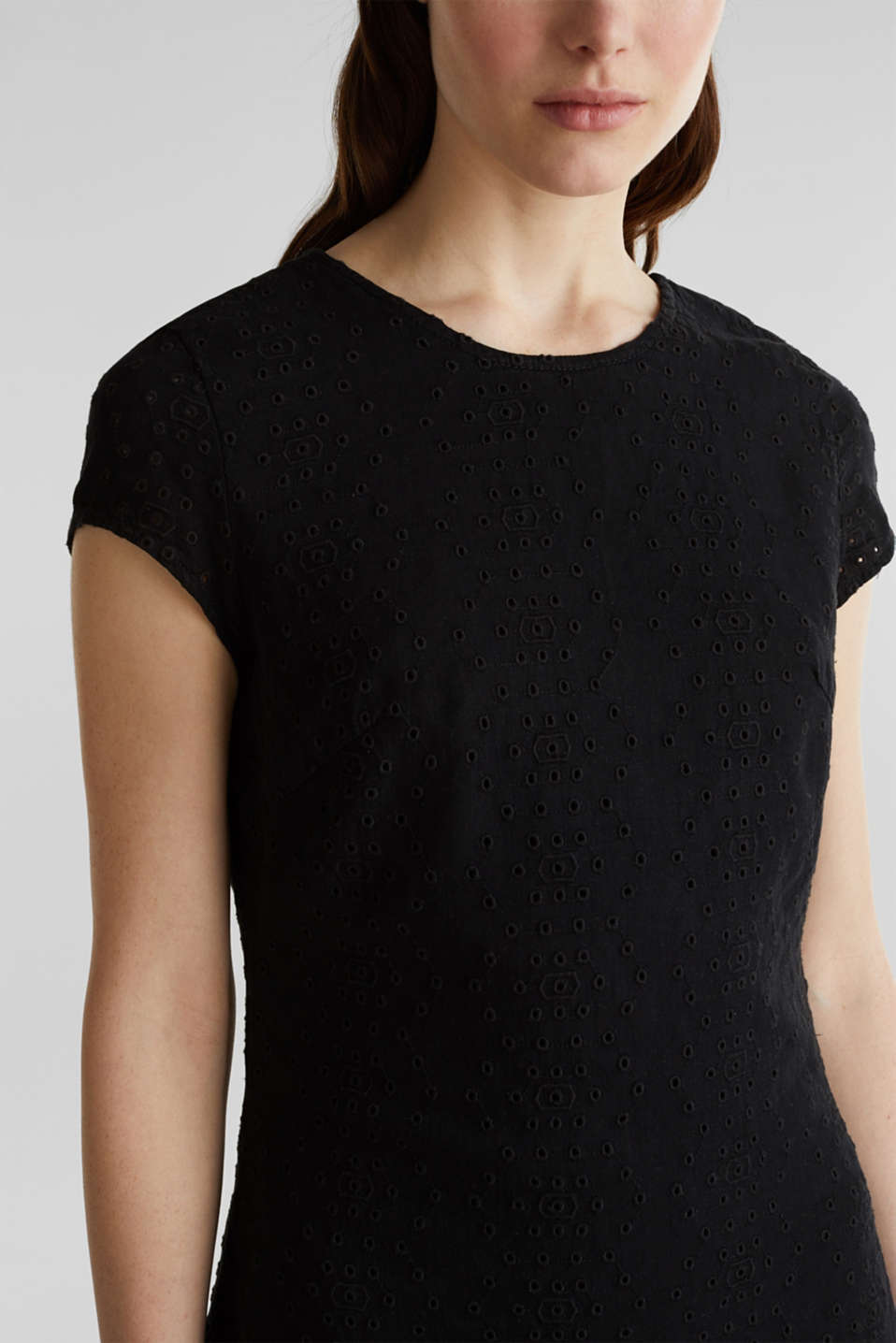 Made of TENCEL™: dress with broderie anglaise, BLACK RINSE, detail image number 3