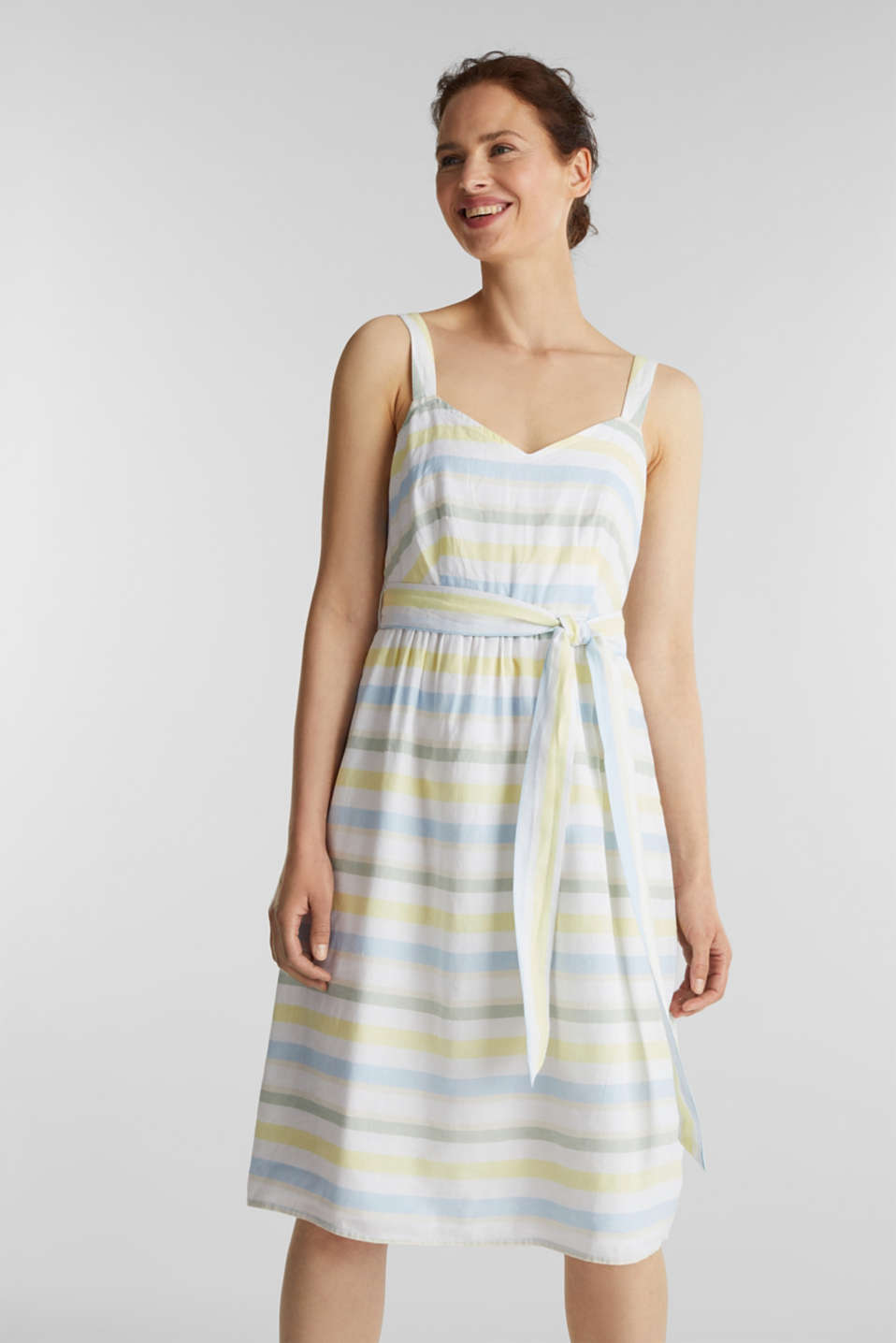 Esprit - Striped strappy dress in a linen blend