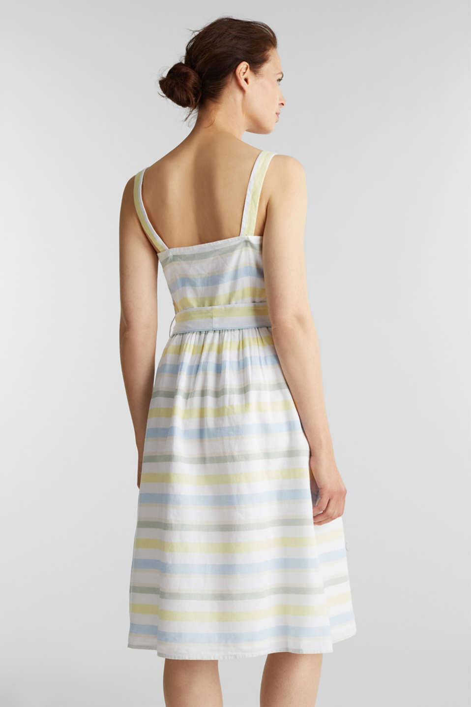 Striped strappy dress in a linen blend, OFF WHITE 4, detail image number 2