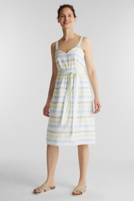 Striped strappy dress in a linen blend, OFF WHITE 4, detail