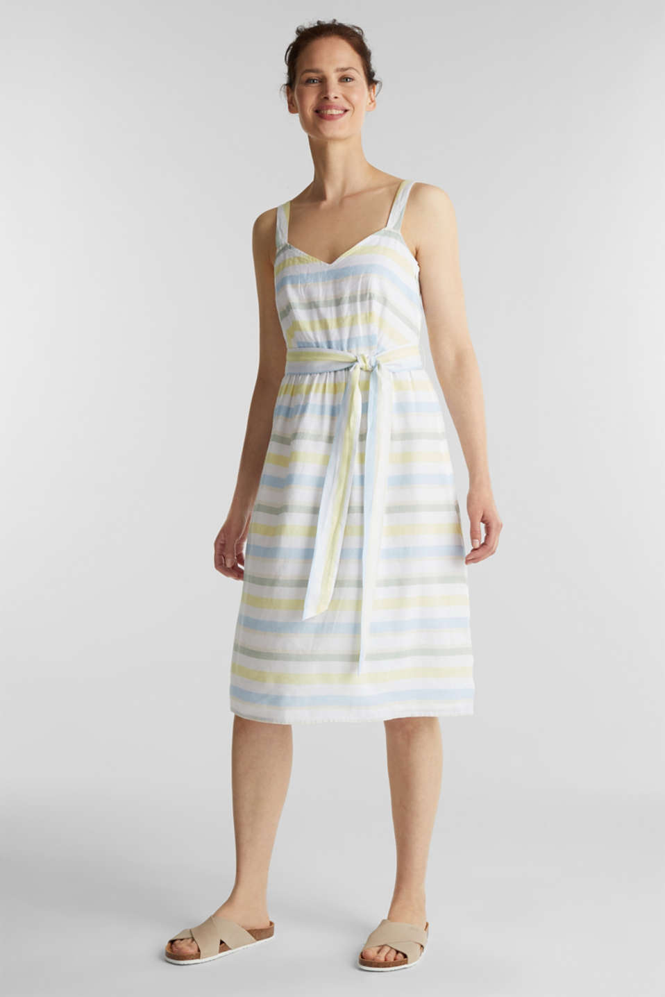 Striped strappy dress in a linen blend, OFF WHITE 4, detail image number 1