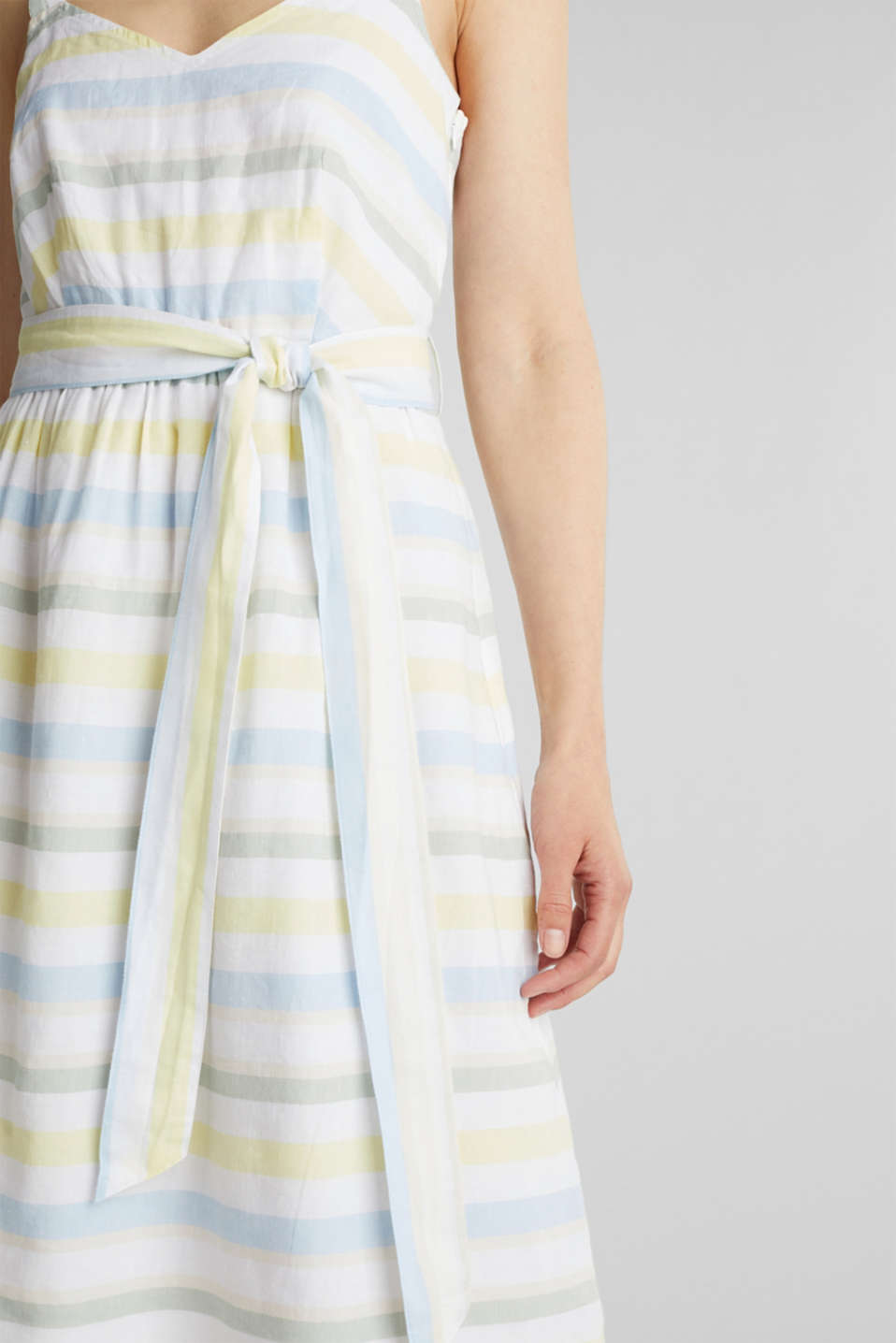 Striped strappy dress in a linen blend, OFF WHITE 4, detail image number 3