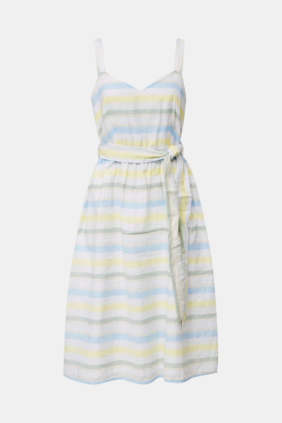 Striped strappy dress in a linen blend, OFF WHITE 4, detail image number 5