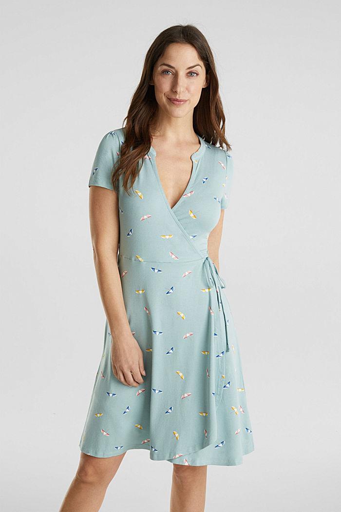 Jersey-Stretch-Kleid in Wickel-Optik, LIGHT AQUA GREEN, detail image number 0