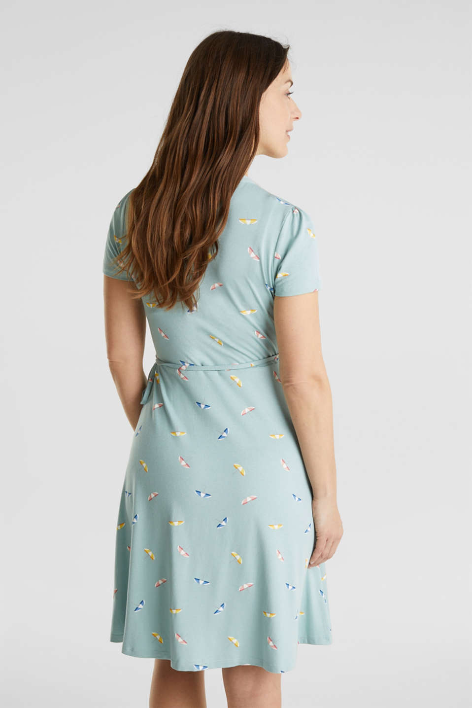 Wrap-effect dress made of stretch jersey, LIGHT AQUA GREEN, detail image number 2