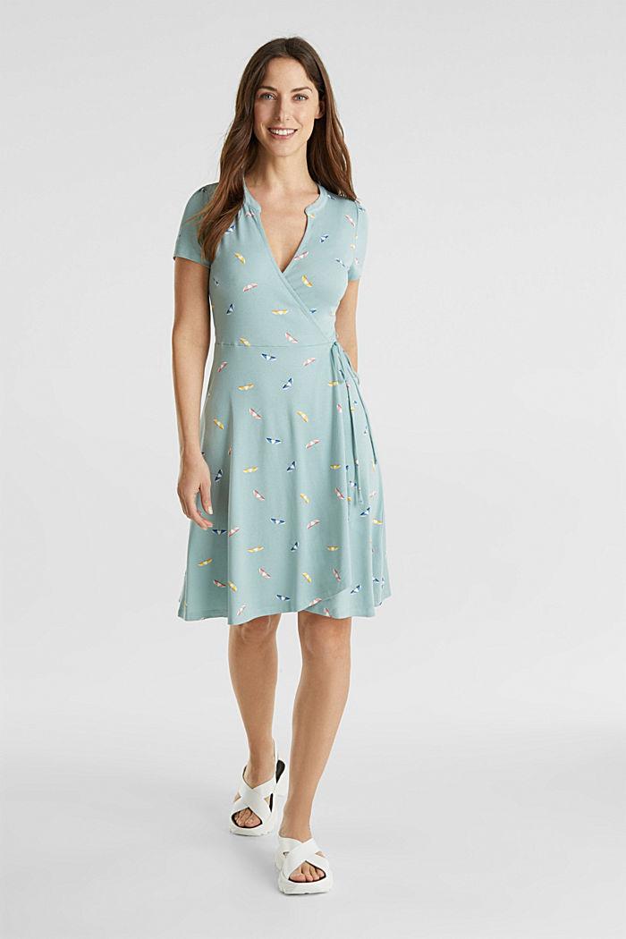 Jersey-Stretch-Kleid in Wickel-Optik, LIGHT AQUA GREEN, detail image number 1