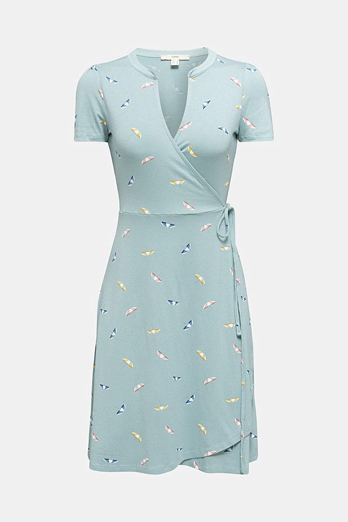 Jersey-Stretch-Kleid in Wickel-Optik, LIGHT AQUA GREEN, detail image number 5