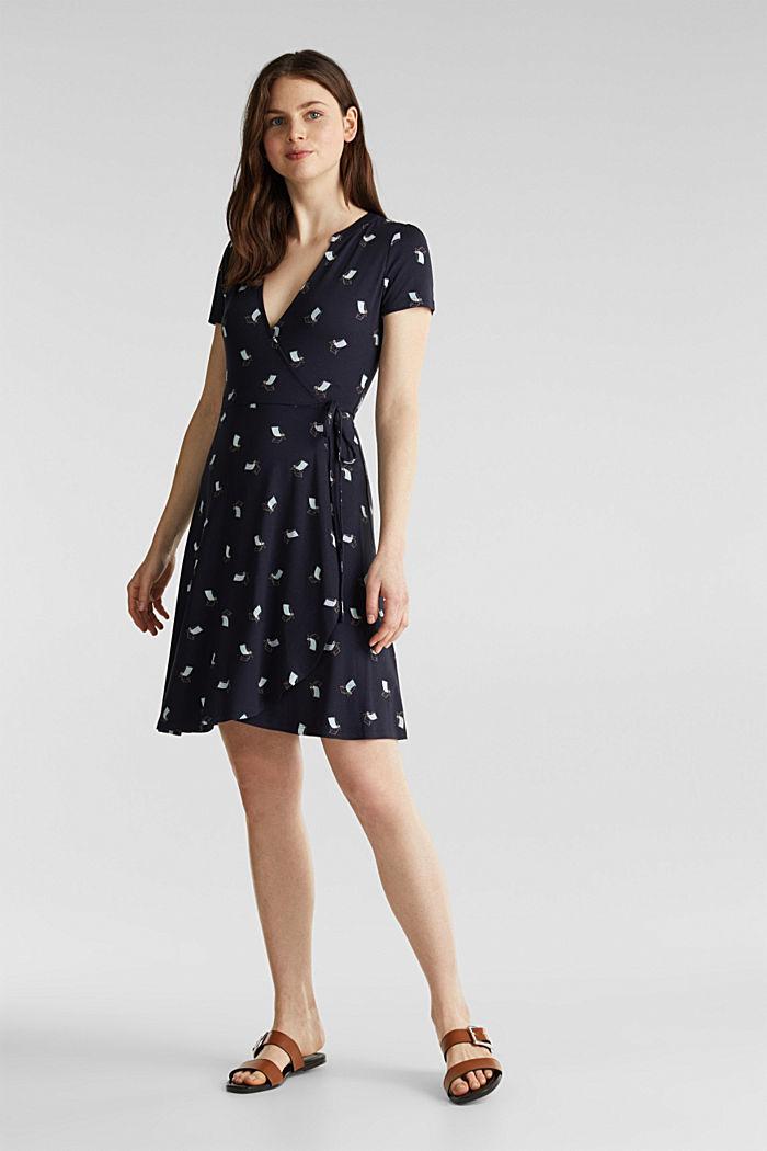 Jersey-Stretch-Kleid in Wickel-Optik, NEW NAVY, detail image number 5