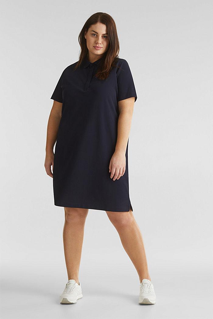 CURVY Polo-Kleid aus Piqué, NAVY, detail image number 0