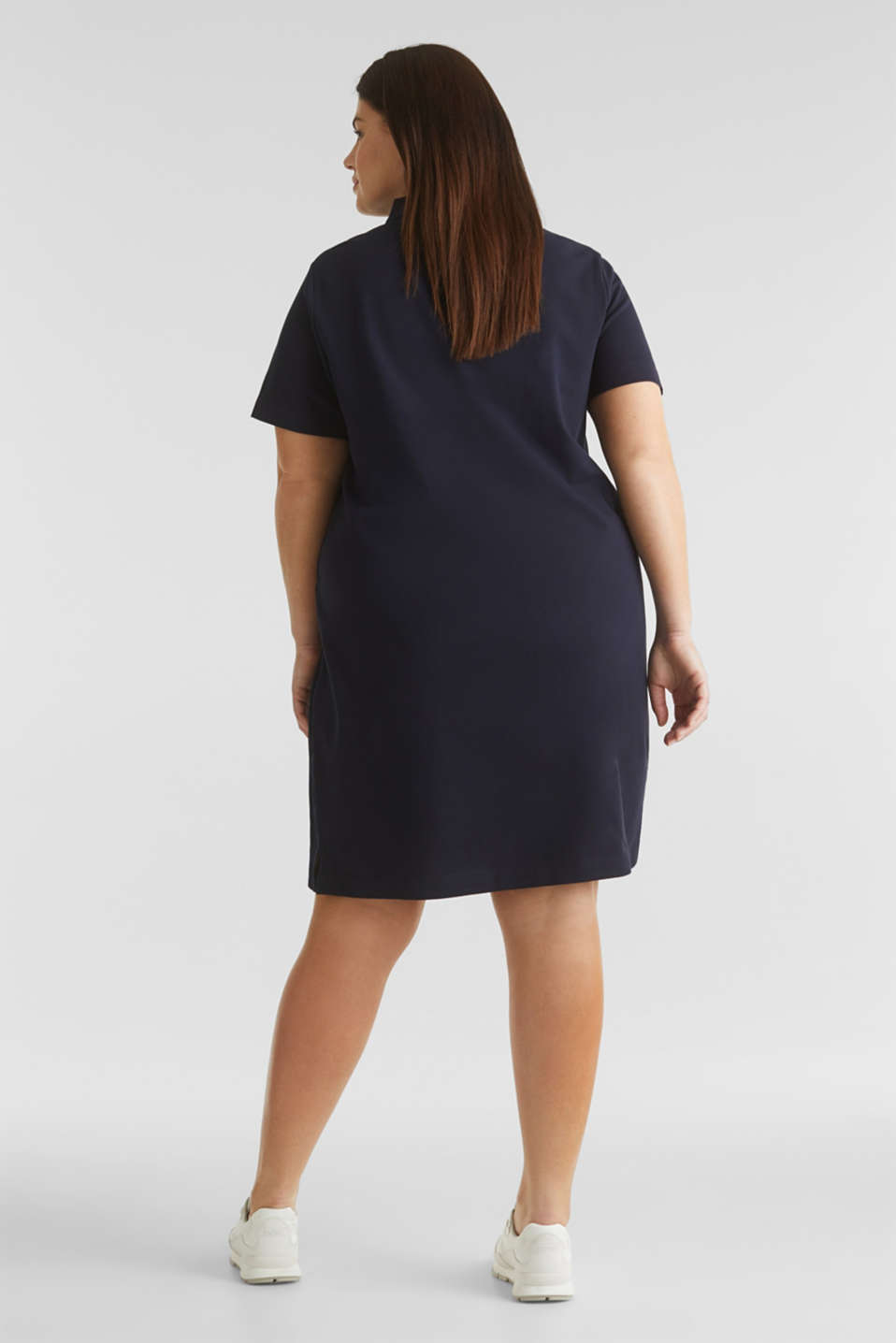 CURVY polo dress made of piqué, NAVY, detail image number 1