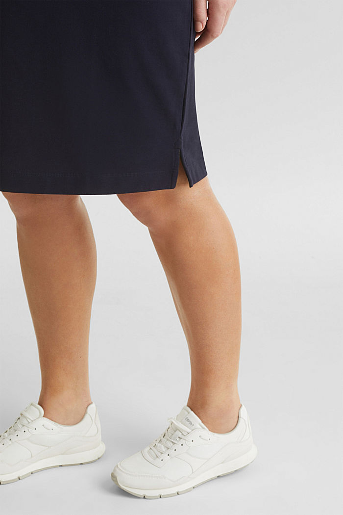 CURVY Polo-Kleid aus Piqué, NAVY, detail image number 4