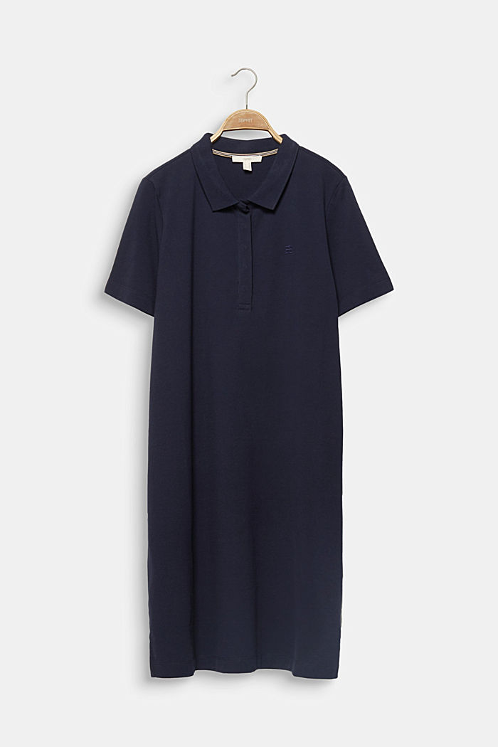 CURVY Polo-Kleid aus Piqué, NAVY, detail image number 6