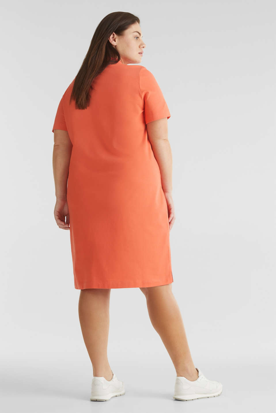 CURVY polo dress made of piqué, CORAL 4, detail image number 2