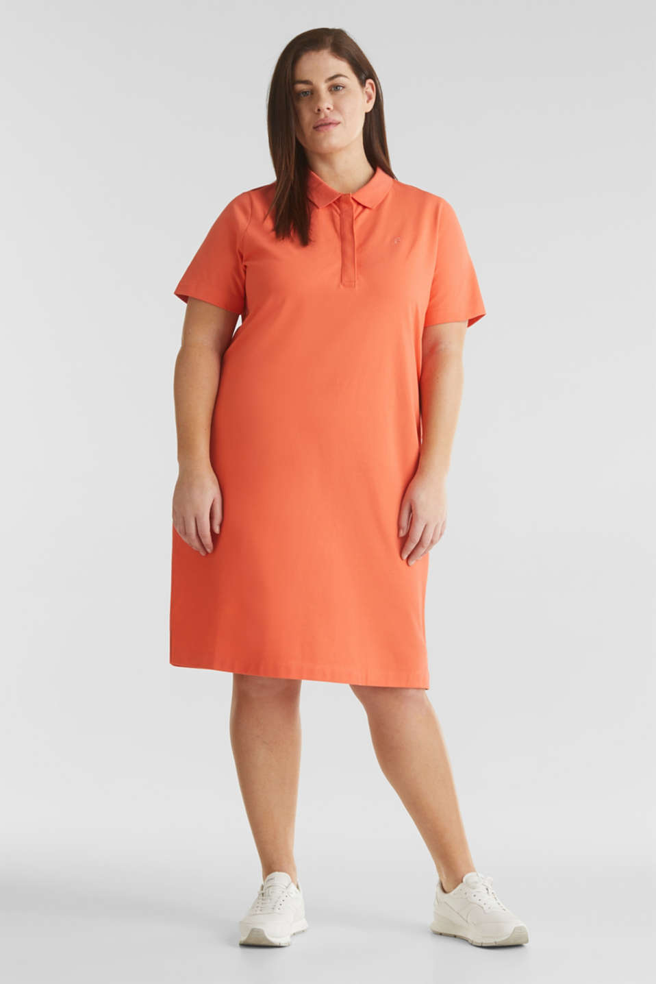 CURVY polo dress made of piqué, CORAL 4, detail image number 1