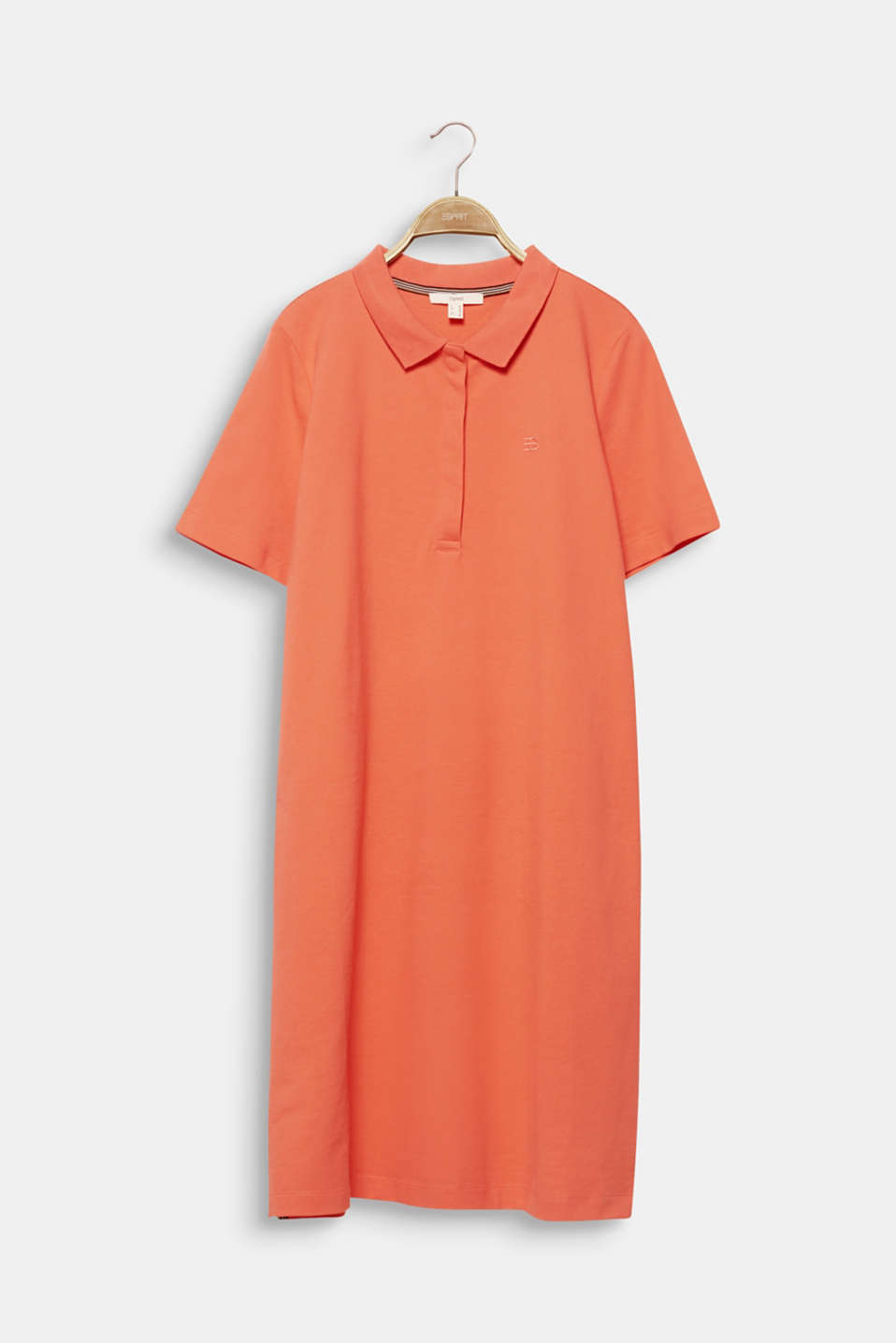CURVY polo dress made of piqué, CORAL 4, detail image number 6