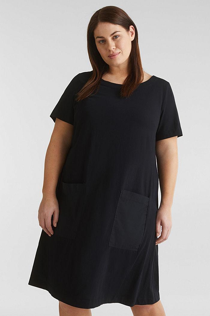 CURVY jersey jurk, 100% katoen, BLACK, detail image number 0