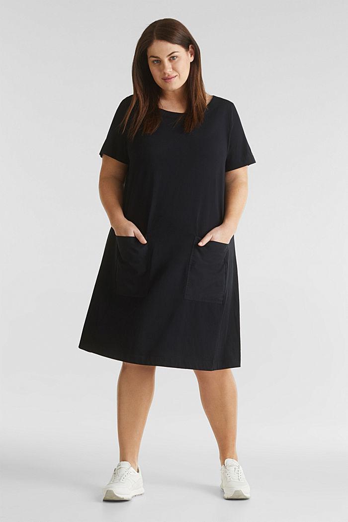 CURVY jersey jurk, 100% katoen, BLACK, detail image number 1