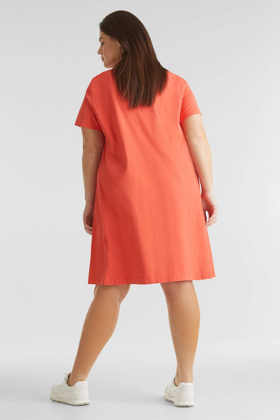 CURVY jersey dress made of 100% cotton, CORAL, detail image number 2