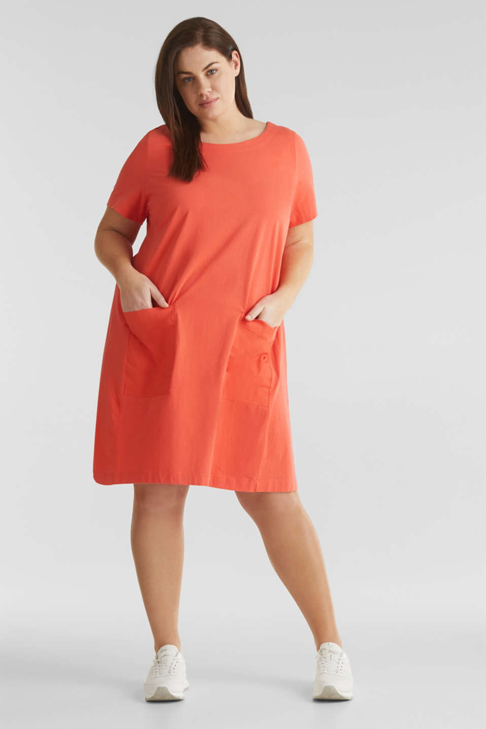 CURVY jersey dress made of 100% cotton, CORAL, detail image number 1