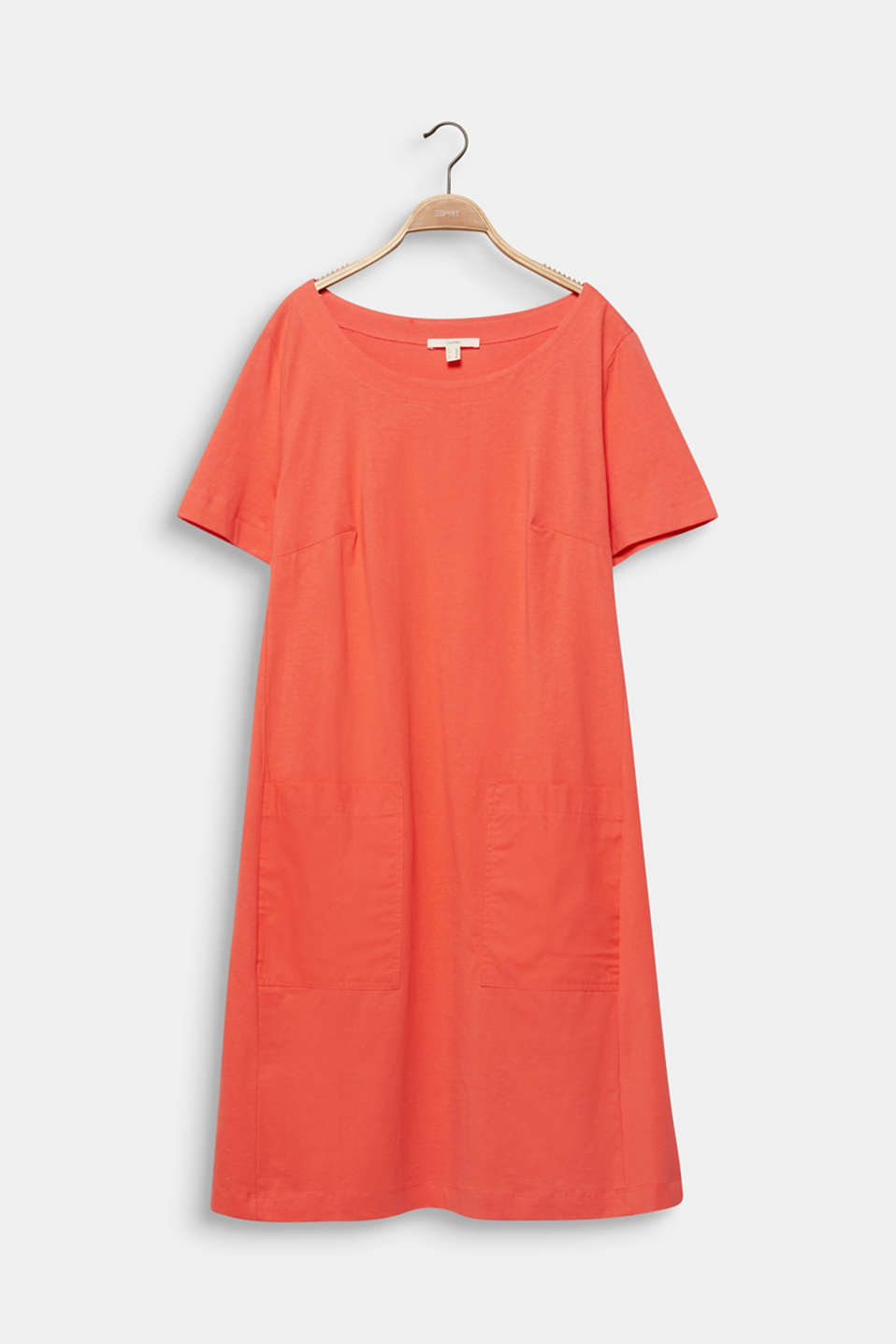 CURVY jersey dress made of 100% cotton, CORAL, detail image number 6