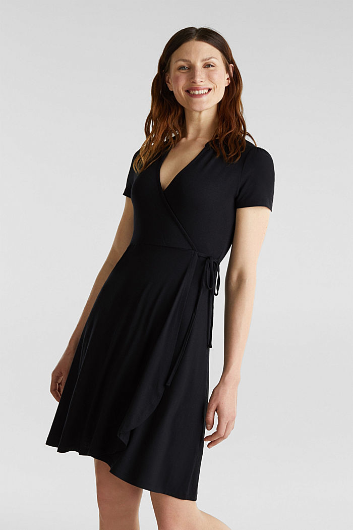 Stretch jersey wrap dress, BLACK, detail image number 0