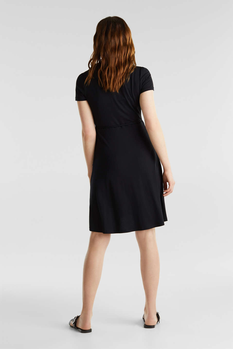 Stretch jersey wrap dress, BLACK, detail image number 2