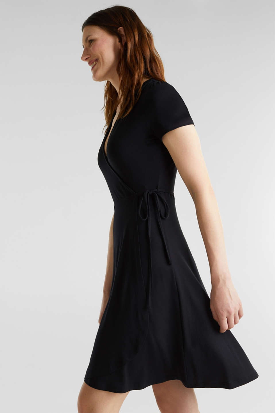 Stretch jersey wrap dress, BLACK, detail image number 4