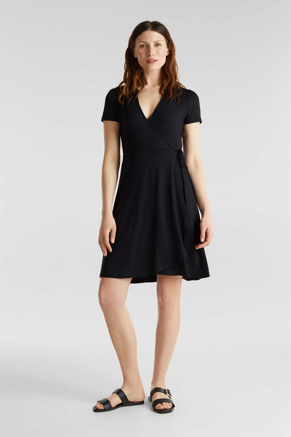 Stretch jersey wrap dress, BLACK, detail image number 1