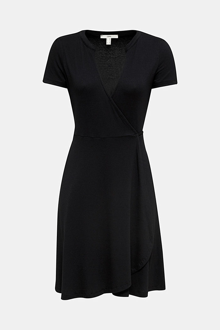 Stretch jersey wrap dress, BLACK, overview