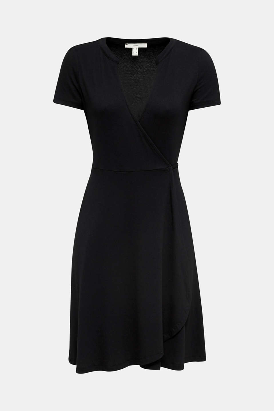 Stretch jersey wrap dress, BLACK, detail image number 6
