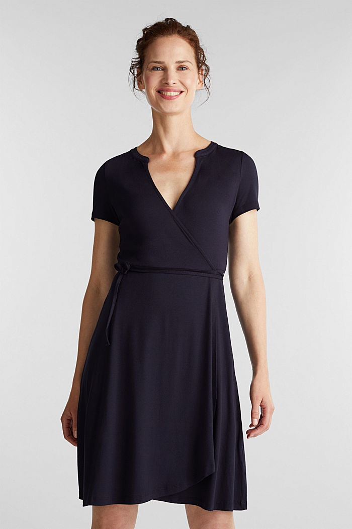 Stretch jersey wrap dress, NAVY, detail image number 0