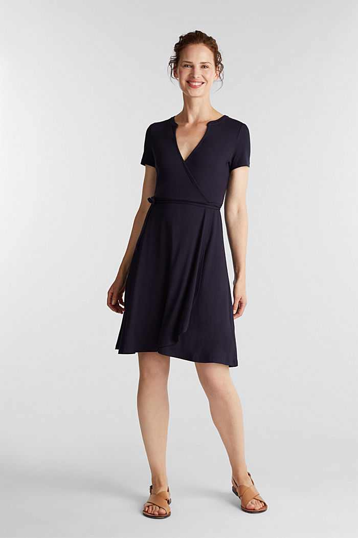Stretch jersey wrap dress, NAVY, detail image number 1
