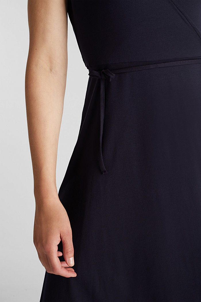 Stretch jersey wrap dress, NAVY, detail image number 3