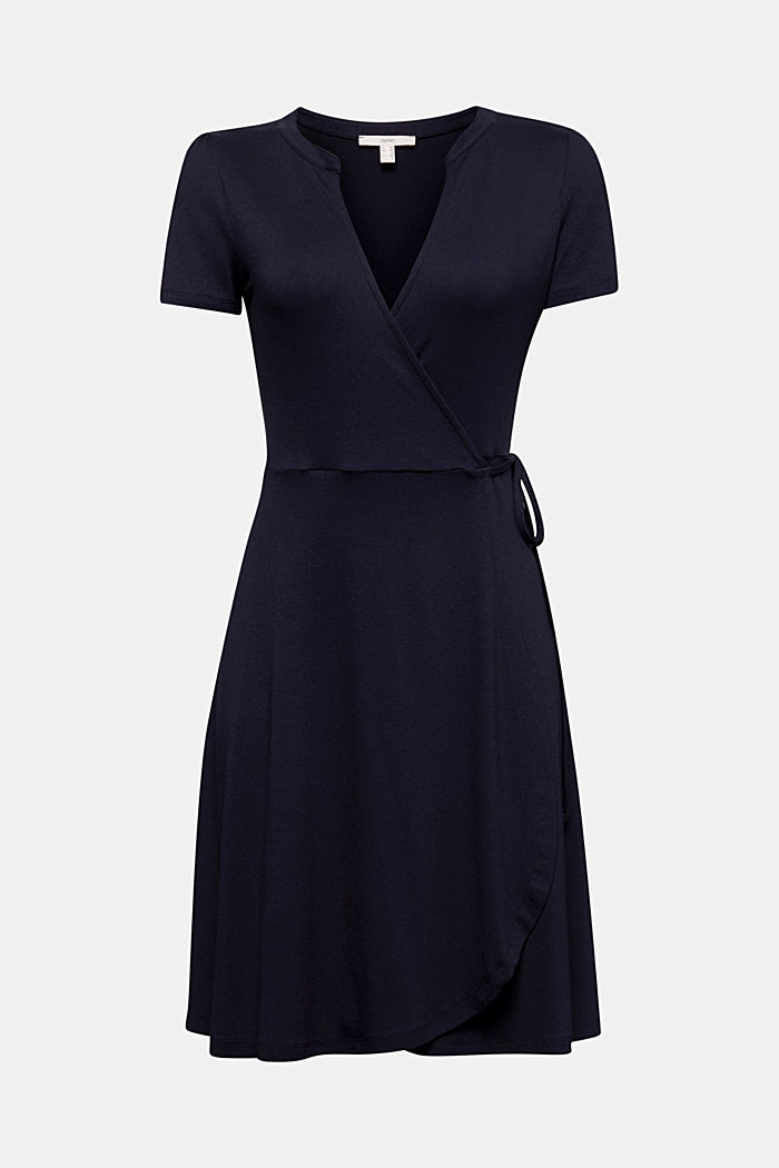 Stretch jersey wrap dress, NAVY, detail image number 5