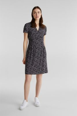 Printed dress made of LENZING™ ECOVERO™, NAVY 4, detail