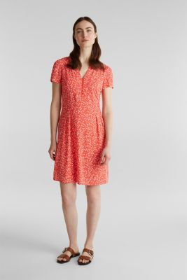 Printed dress made of LENZING™ ECOVERO™, CORAL 4, detail
