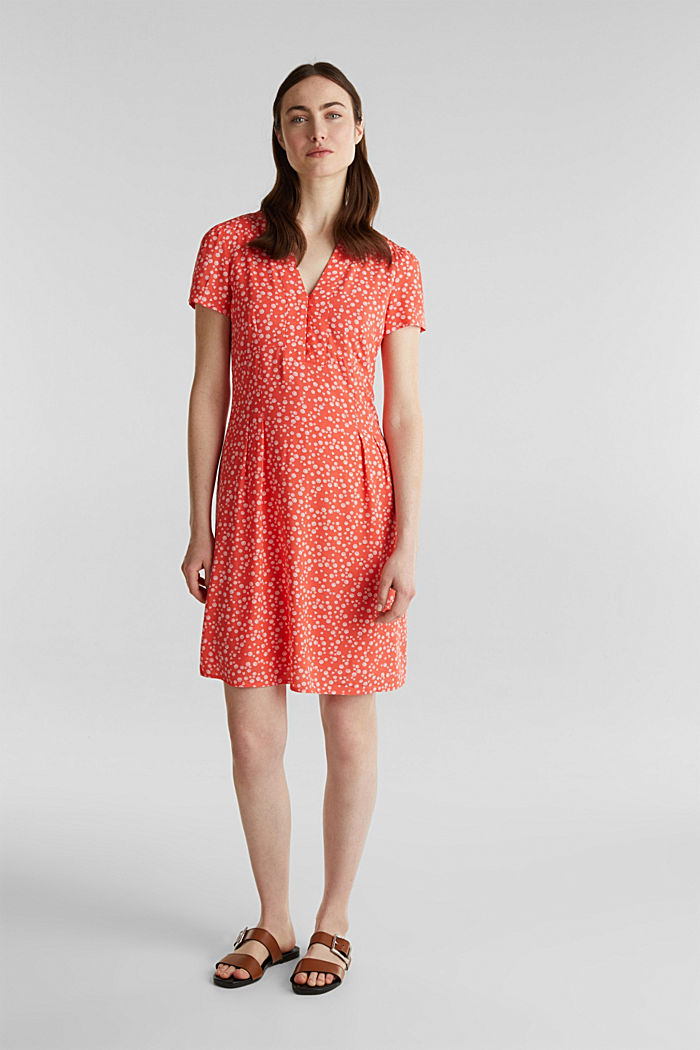 Printed dress made of LENZING™ ECOVERO™, CORAL, detail image number 1